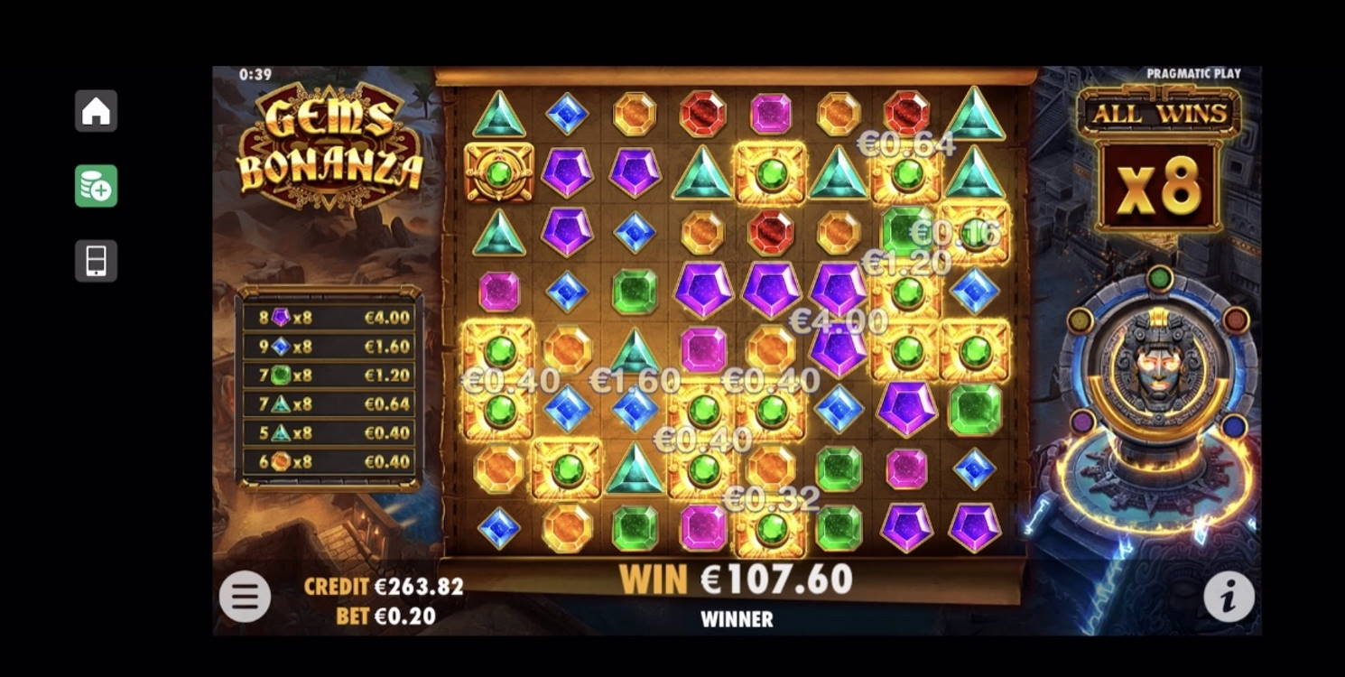 Gems Bonanza Casino win picture by livewithoutlimits1986 18.12.2020 107.60e 538X