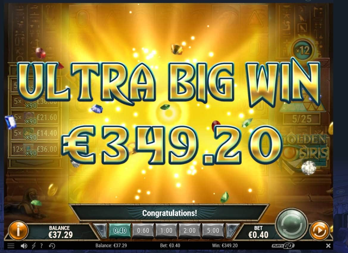 Golden Osiris Casino win picture by Mrmork666 6.1.2021 349.20e 873X Vulkan Vegas