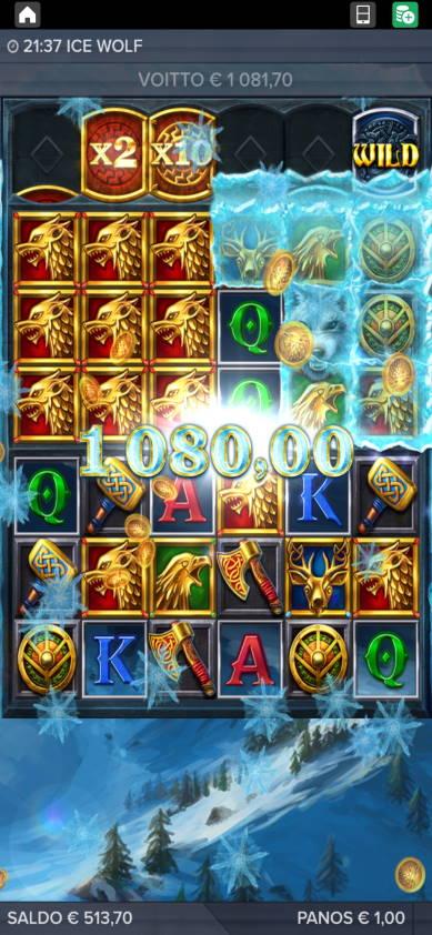 Ice Wolf Casino win picture by alkkade 8.1.2021 1081.70e 1082X