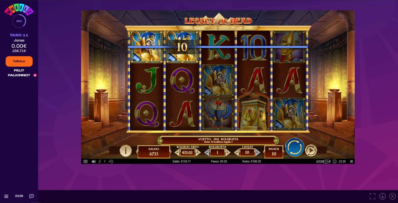 Legacy of Dead Casino win picture by jonkki 13.1.2021 100.20e 501X Wheelz