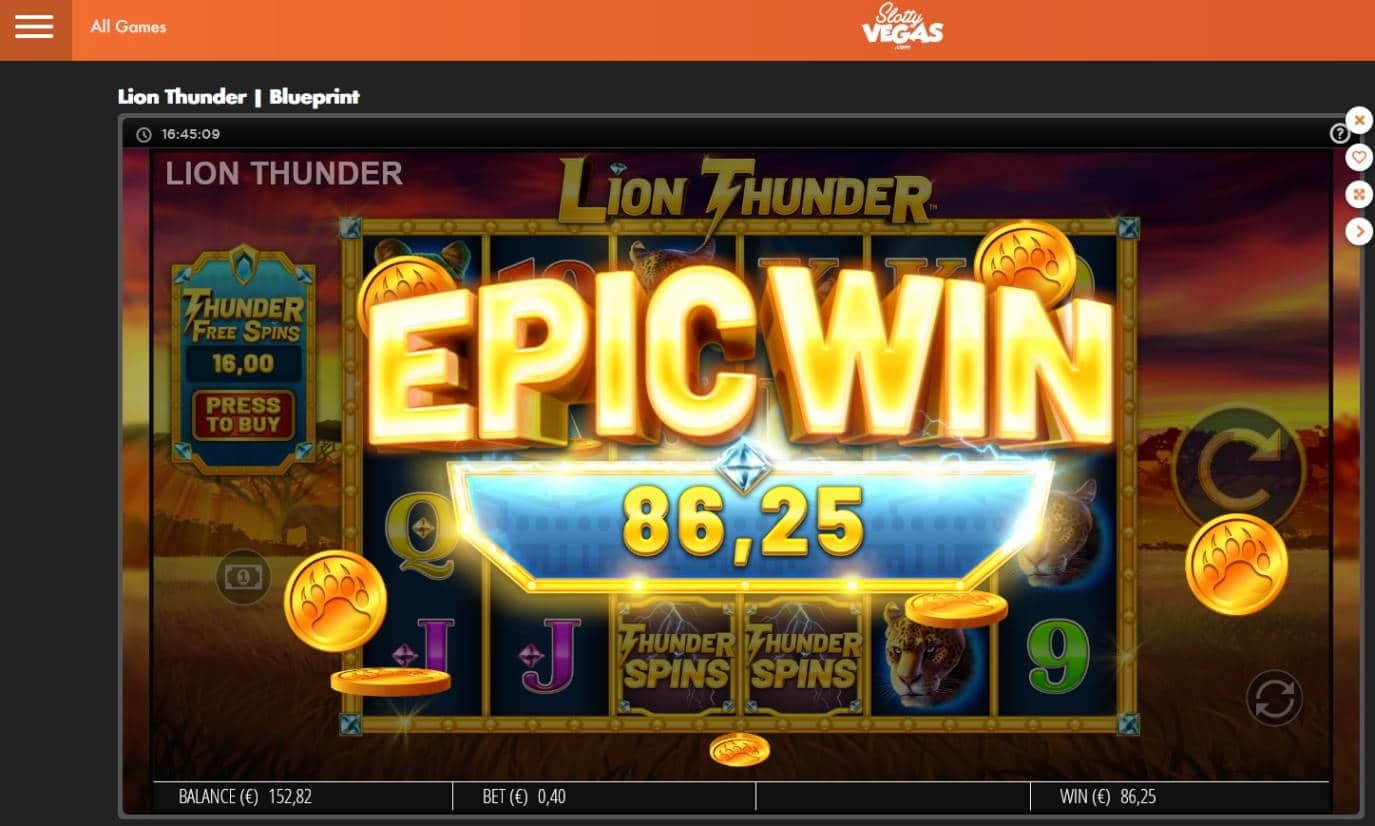 Lion Thunder Casino win picture by Mrmork666 4.12.2020 86.25e 216X
