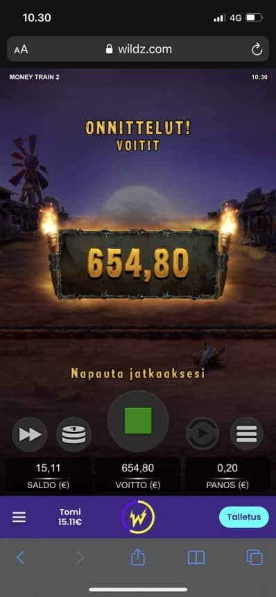 Money Train 2 Casino win picture by Turboburo 7.1.2021 654.80e 3274X Wildz