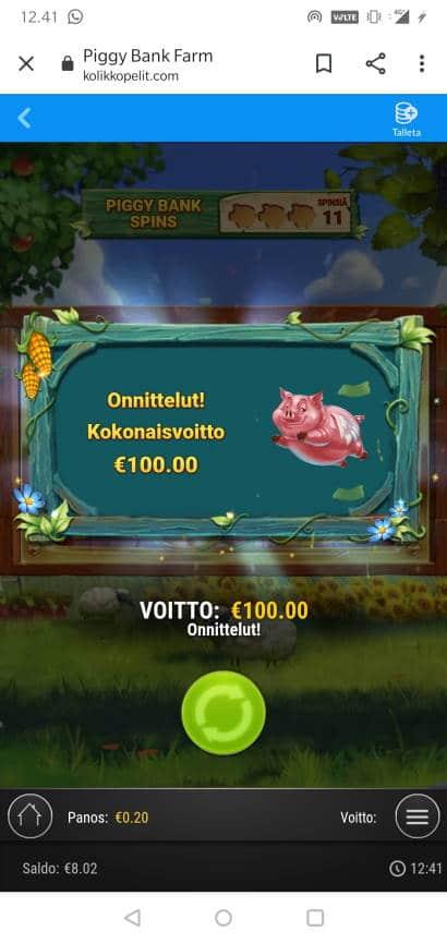 Piggy Bank Casino win picture by Farm MikoTiko 11.1.2021 100e 500X kolikkopelit