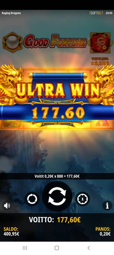 Raging Dragons Casino win picture by SJaN 9.1.2021 177.60e 888X