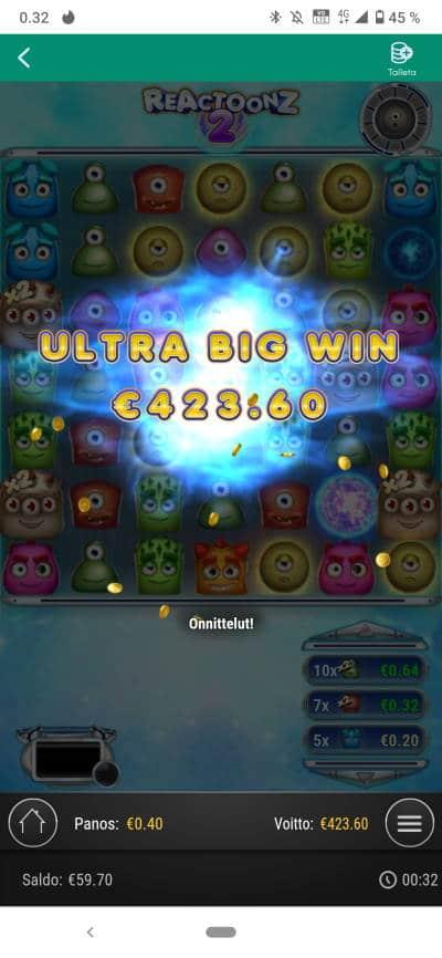 Reactoonz 2 Casino win picture by Kasperi001 20.12.2020 423.60e 1059X
