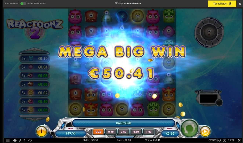 Reactoonz 2 Casino win picture by Mrmork666 4.1.2021 50.41e 252x