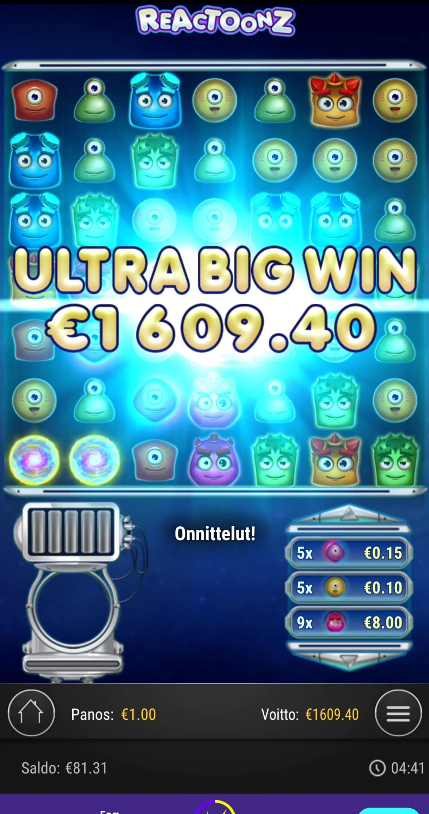 Reactoonz Casino win picture by Salatheel 1.1.2021 1609.40e 1609X Wildz