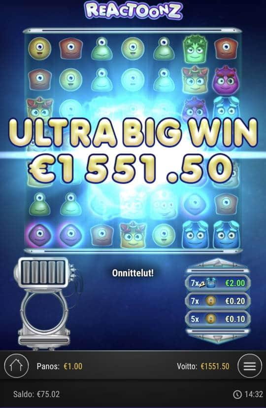 Reactoonz Casino win picture by Sonefinland 12.1.2021 1551.50e 1552X