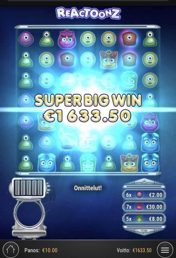 Reactoonz Casino win picture by Sonefinland 12.1.2021 1633.50e 163X