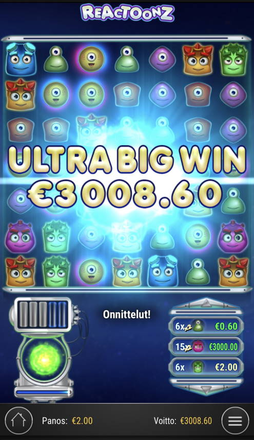 Reactoonz Casino win picture by Sonefinland 12.1.2021 3008.60e 1504X