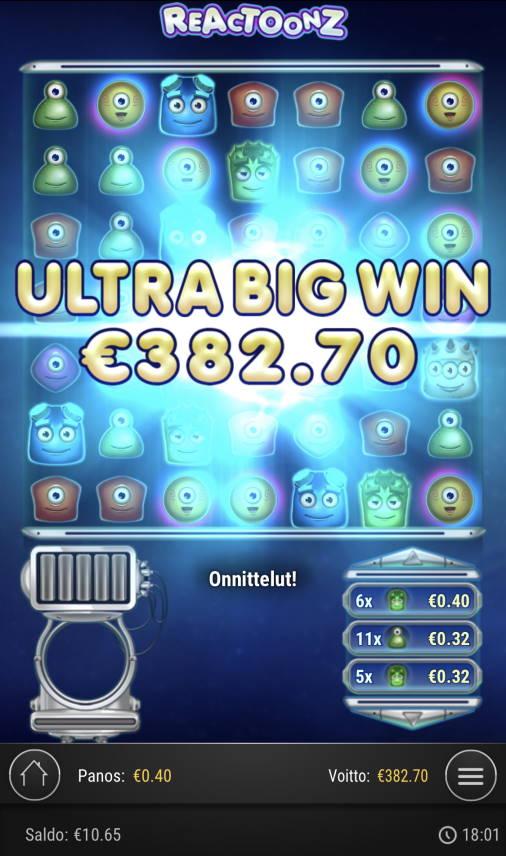 Reactoonz Casino win picture by Sonefinland 2.1.2021 382.70e 957X