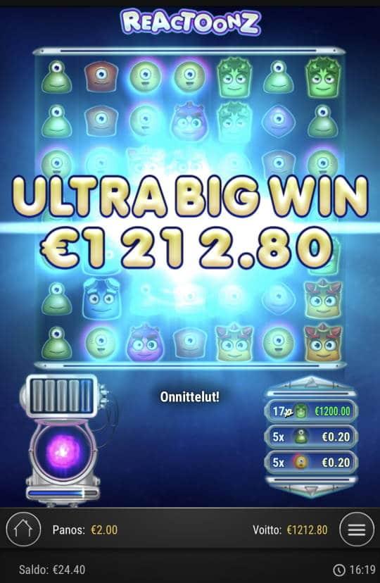 Reactoonz Casino win picture by Sonefinland 6.1.2021 1212.80e 606X
