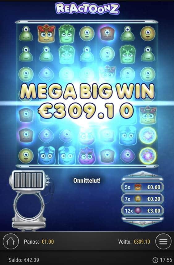 Reactoonz Casino win picture by Sonefinland 6.1.2021 309.10e 309X