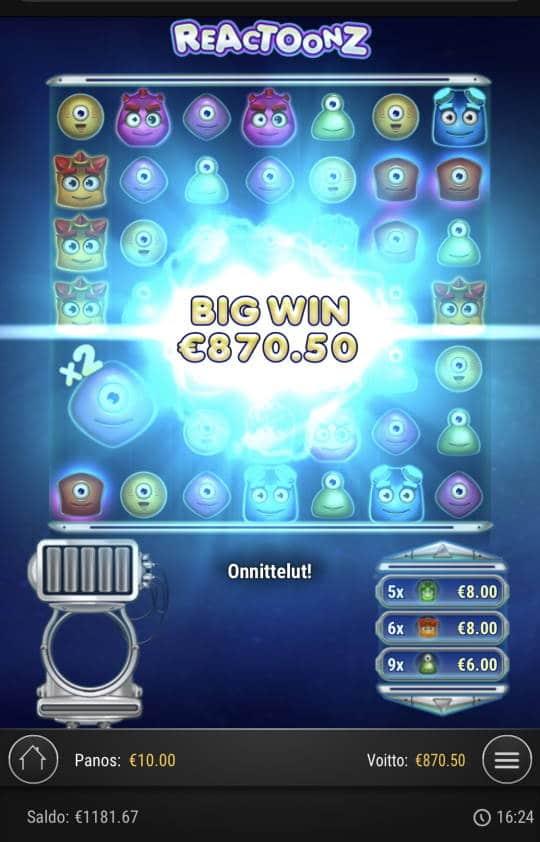 Reactoonz Casino win picture by Sonefinland 6.1.2021 870.50e 87X