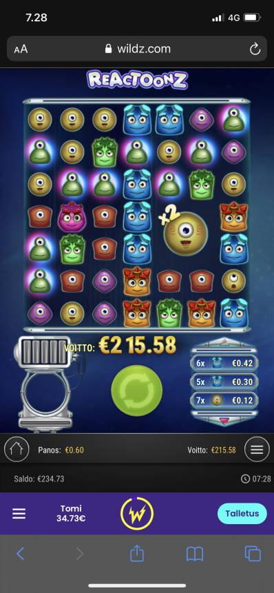 Reactoonz Casino win picture by Turboburo 8.1.2021 215.58e 359X Wildz
