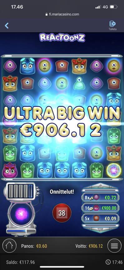 Reactoonz Casino win picture by aki_2772 4.1.2021 906.12e 1510X Maria Casino