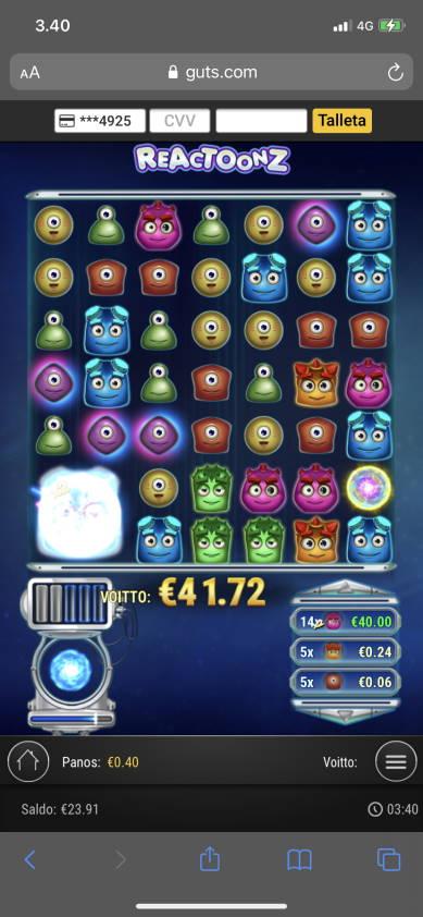 Reactoonz Casino win picture by heikkkine 29.12.2020 41.72e 104X Guts