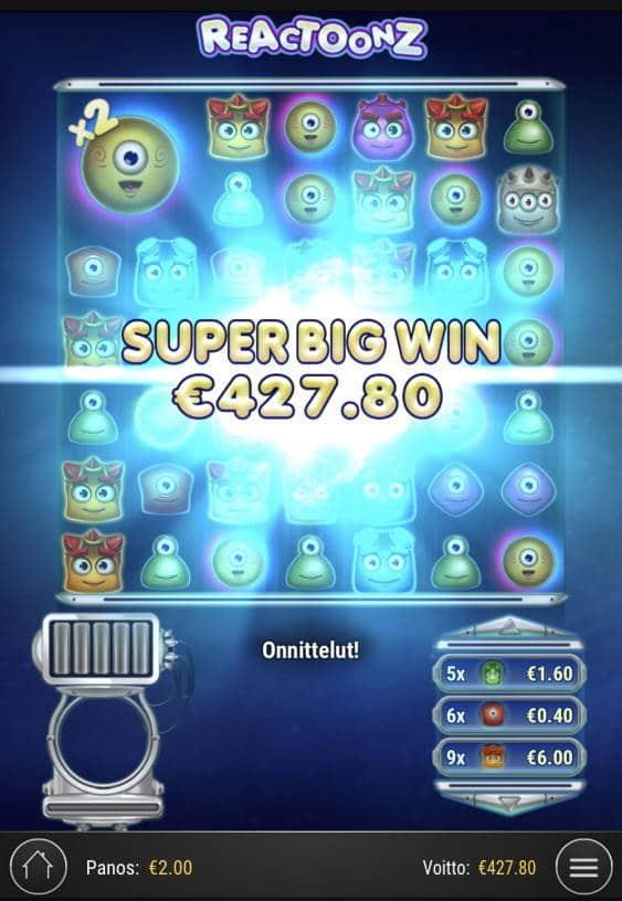 Reactoonz Casino win picture by sonefinland 15.12.2020 427.80e 214X