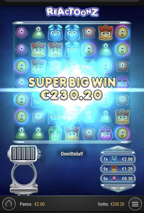 Reactoonz Casino win picture by sonefinland 16.12.2020 230.20e 115X