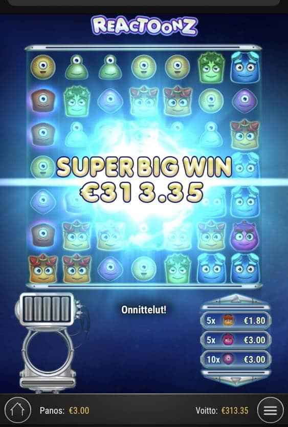Reactoonz Casino win picture by sonefinland 16.12.2020 313.35e 104X
