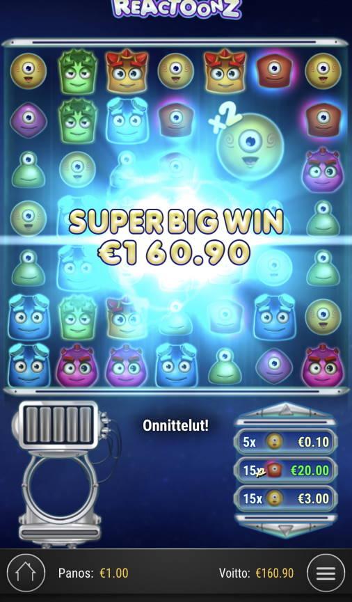 Reactoonz Casino win picture by sonefinland 21.12.2020 160.90e 161X