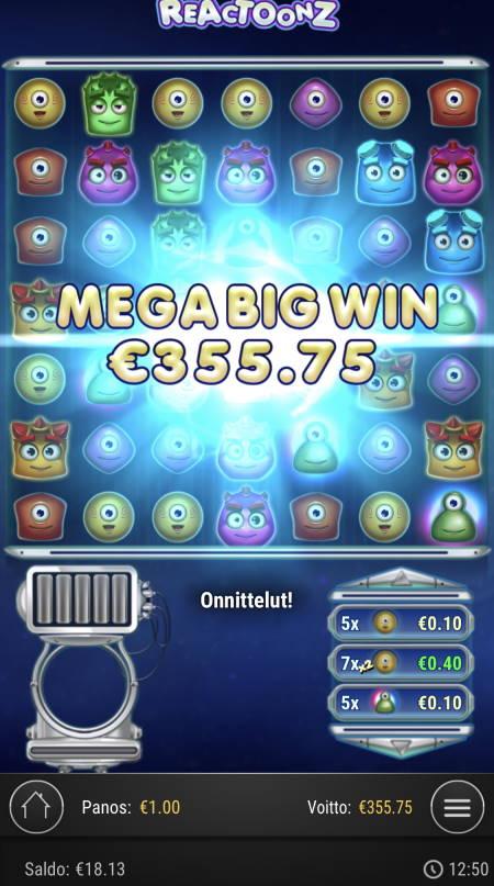 Reactoonz Casino win picture by sonefinland 21.12.2020 355.75e 356X