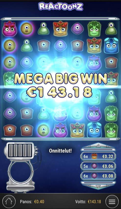 Reactoonz Casino win picture by sonefinland 23.12.2020 143.18e 358X