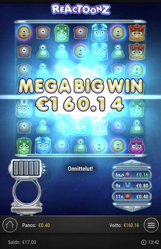 Reactoonz Casino win picture by sonefinland 29.12.2020 160.14e 400X