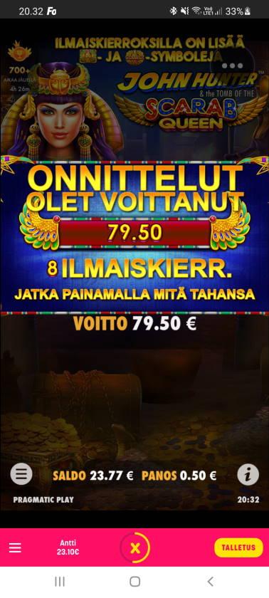 Scarab Queen Casino win picture by dj_niemi 23.12.2020 79.50e 159X Caxino