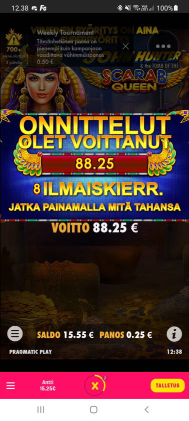 Scarab Queen Casino win picture by dj_niemi 27.12.2020 88.25e 353X Caxino