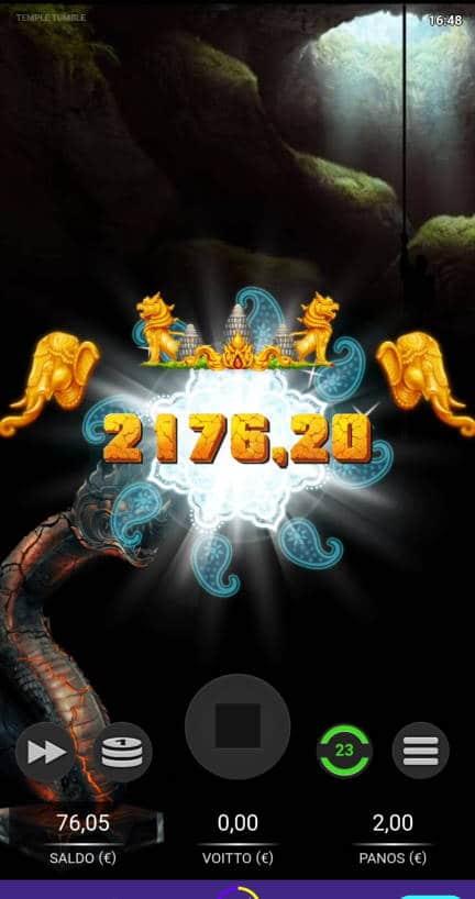 Temple Tumble Casino win picture by Salatheel 2.1.2021 2176.20e 1088X Wildz