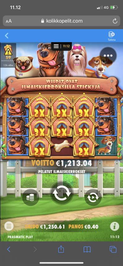 The Dog House Casino win picture by heikkkine 1.1.2021 1213.04e 3033X Kolikkopelit