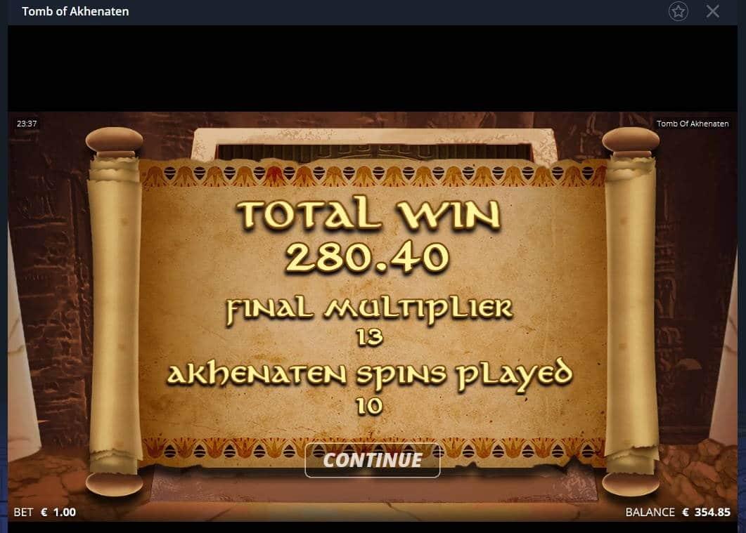 Tomb of Akhenaten Casino win picture by Mrmork666 4.1.2021 280.40e 280x