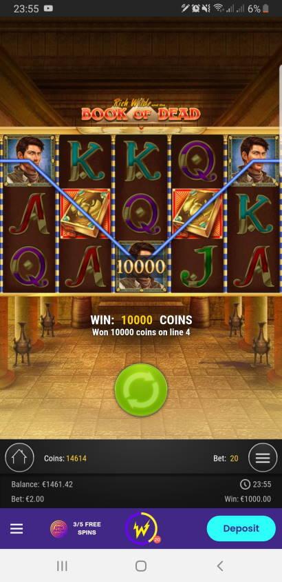 Book of Dead Casino win picture by Mrchanga88 14.2.2021 1000e 500X Wildz