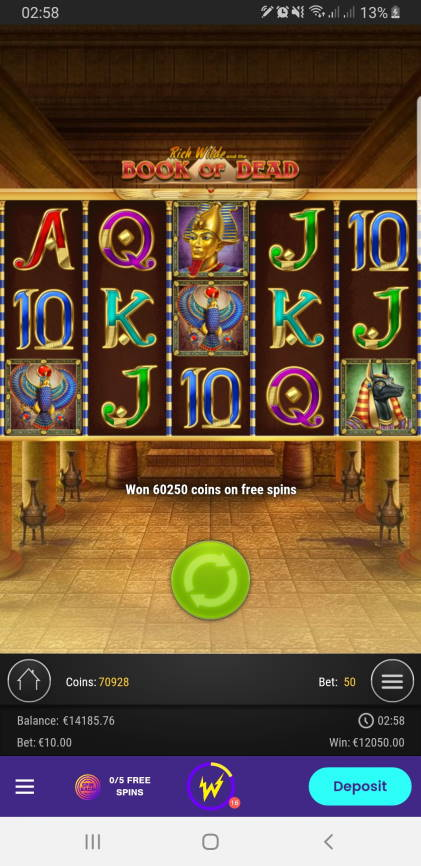 Book of Dead Casino win picture by Mrchanga88 14.2.2021 12050e 1205X Wildz