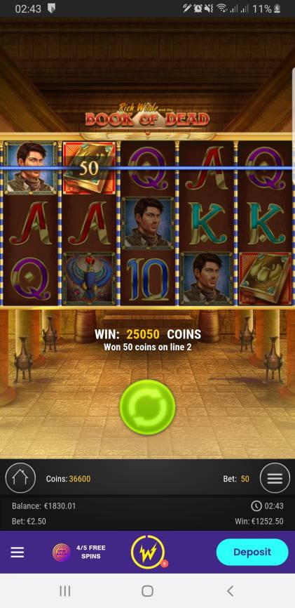 Book of Dead Casino win picture by Mrchanga88 14.2.2021 1252.50e 501X Wildz