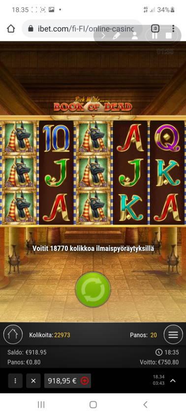 Book of Dead Casino win picture by holari993 31.1.2021 750.80e 939X ibet