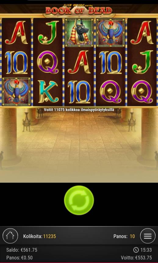 Book of Dead Casino win picture by jyrkkenkloppi 16.1.2021 553.75e 1108X