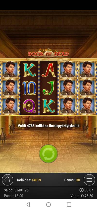 Book of Dead Casino win picture by jyrkkenkloppi 2.2.2021 478.50e 160X