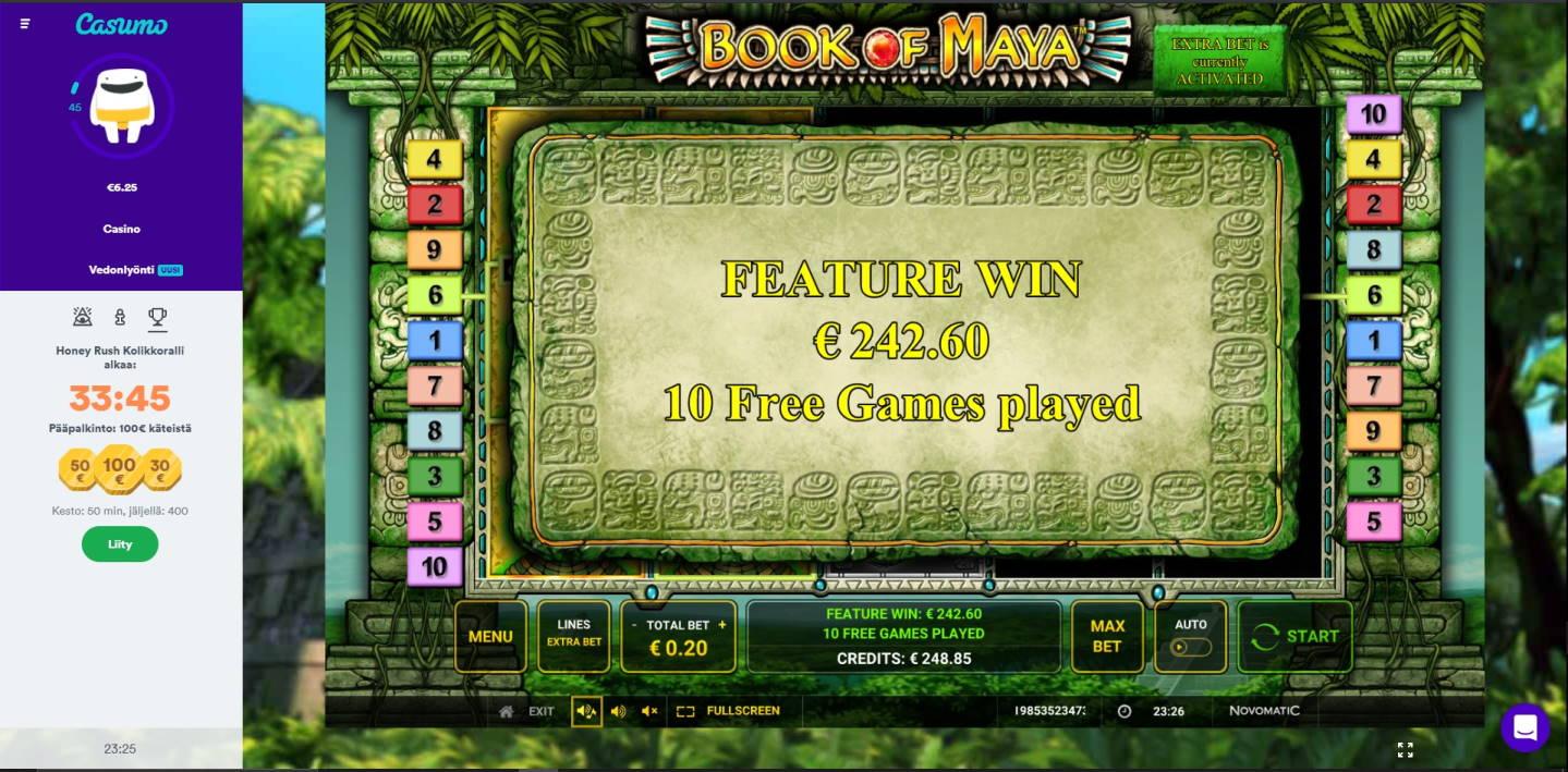 Book of Maya Casino win picture by Henkka1986 24.1.2021 242.60e 1213X Casumo