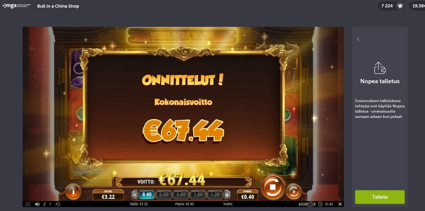 Bull in a China Shop Casino win picture by Mrmork666 28.1.2021 67.44e 169X Come On