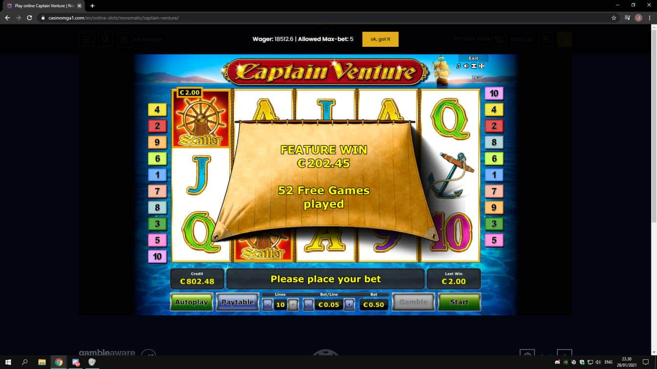 Captain Venture Casino win picture by jonkki 28.1.2021 202.45e 405X
