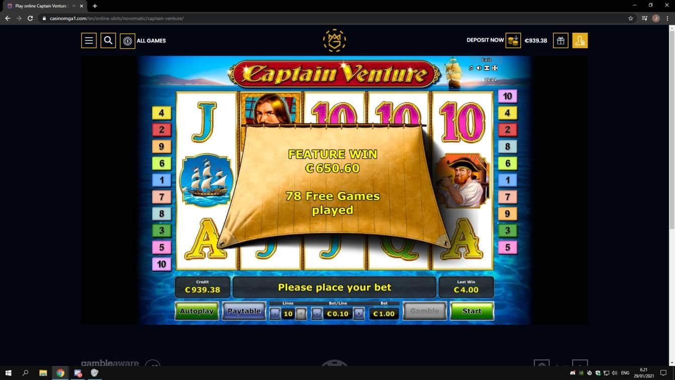 Captain Venture Casino win picture by jonkki 29.1.2021 650.60e 651X