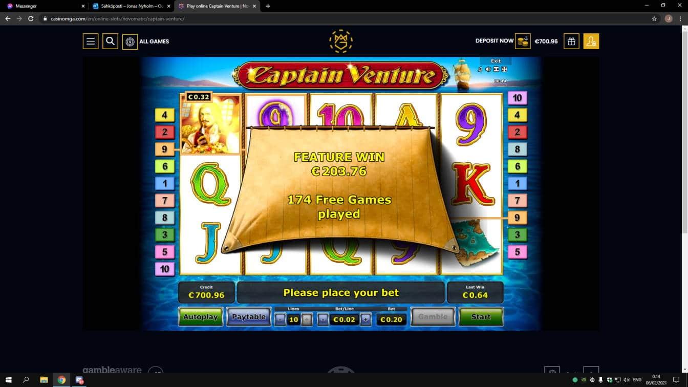 Captain Venture Casino win picture by jonkki 6.2.2021 203.76e 1019X Casinomga