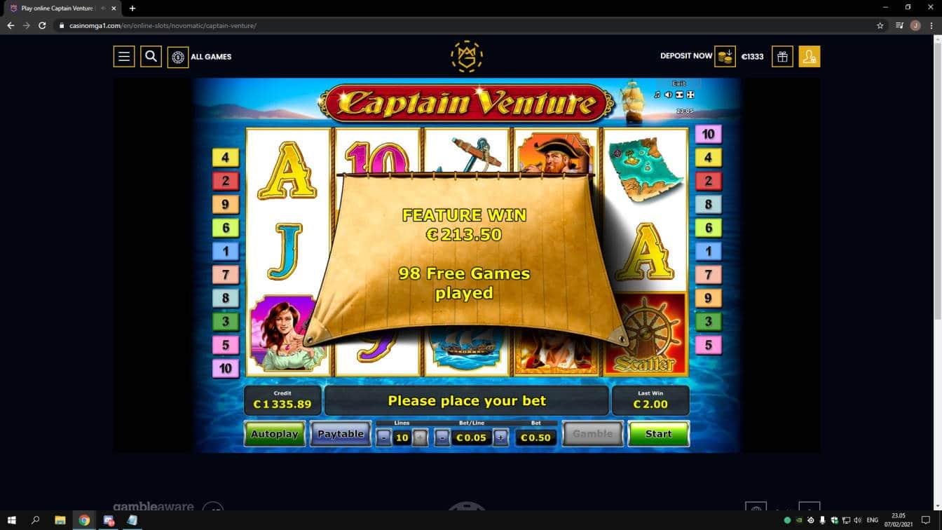 Captain Venture Casino win picture by jonkki 7.2.2021 213.50e 427X Casinomga