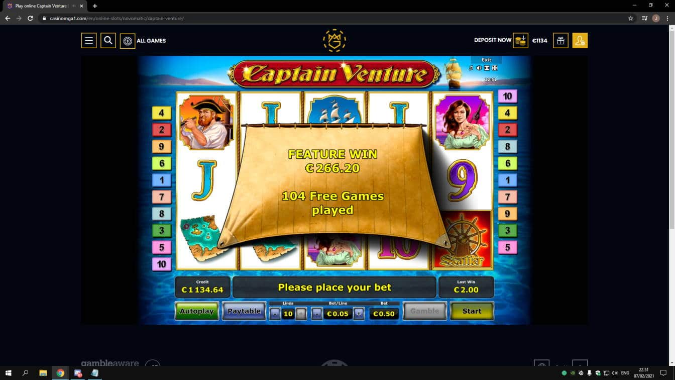 Captain Venture Casino win picture by jonkki 7.2.2021 266.20e 532X Casinomga