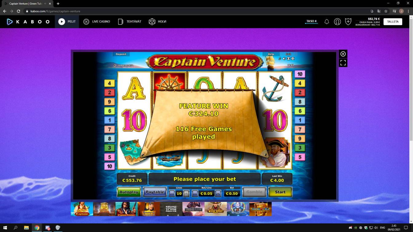 Captain Venture Casino win picture by jonkki 9.2.2021 324.10e 648X Kaboo