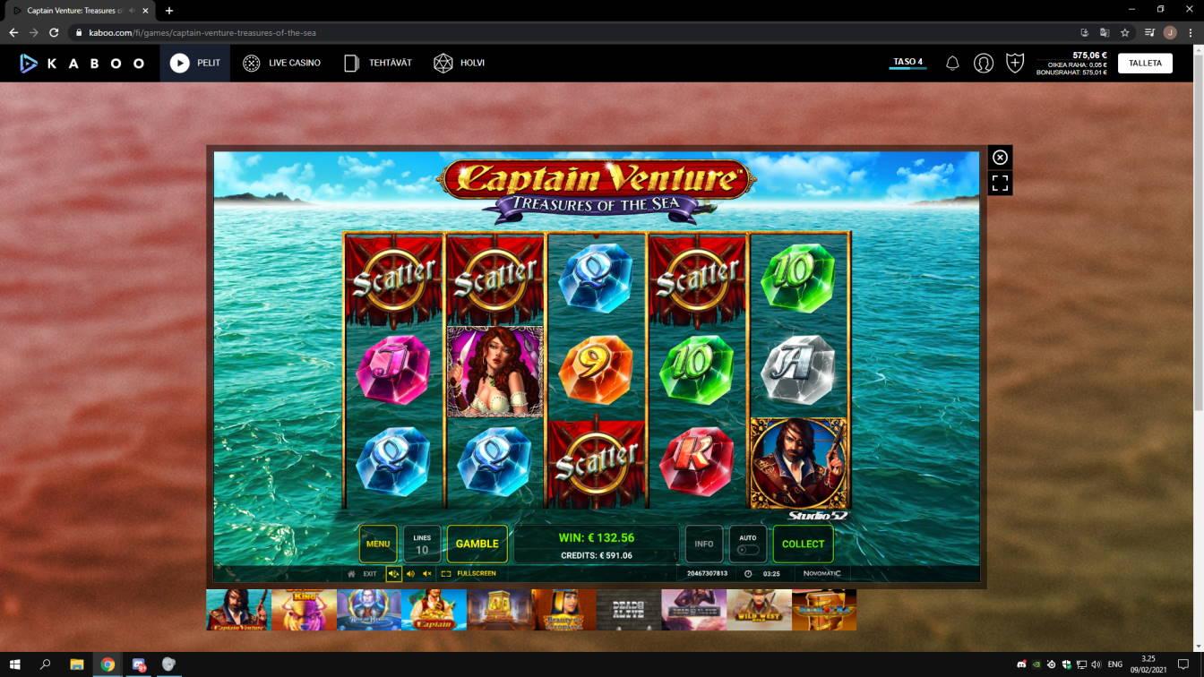 Captain Venture Treasures of the Sea Casino win picture by jonkki 9.2.2021 132.56e 265X Kaboo