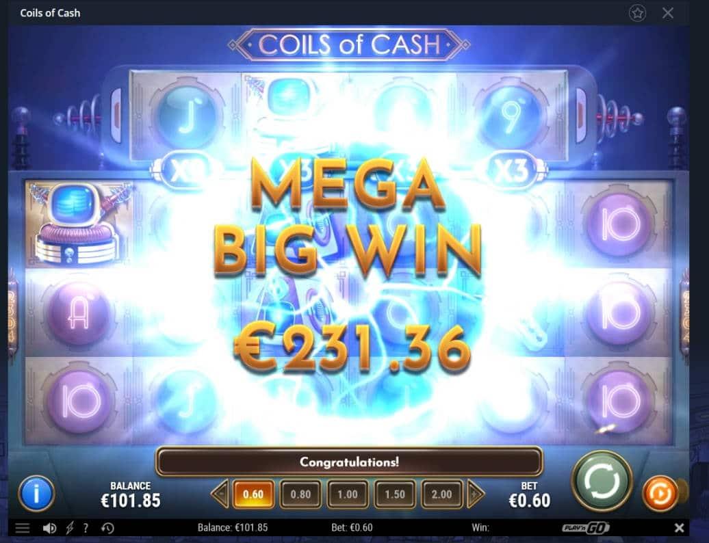 Coils of Cash Casino win picture by MrMork 12.2.2021 231.36e 386X