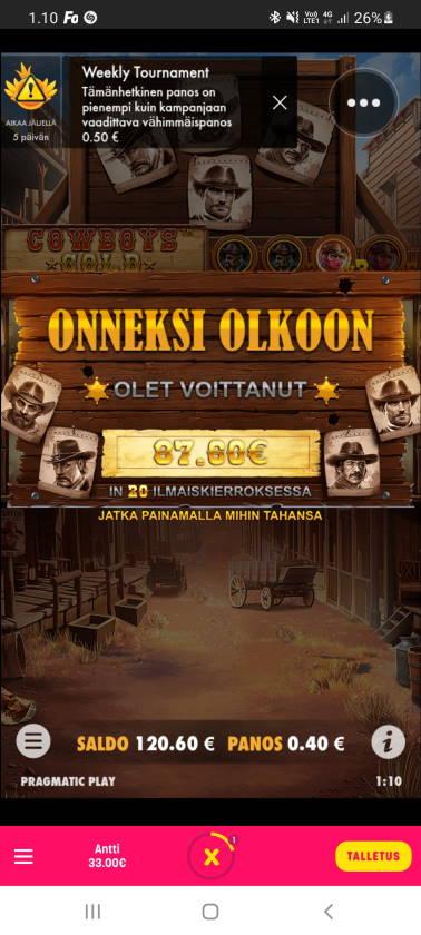 Cowboys Gold Casino win picture by dj_niemi 29.1.2021 87.60e 219X Caxino